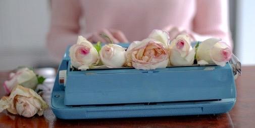 Blue Typewriter and Pink Roses